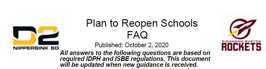 Plan to Reopen Schools FAQ